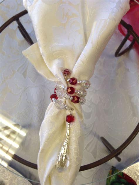 handmade beaded napkin rings  napkin christmas decor pinterest napkins napkin rings