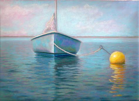 buoy boat pastel painting yellow buoy boat reflection pastel