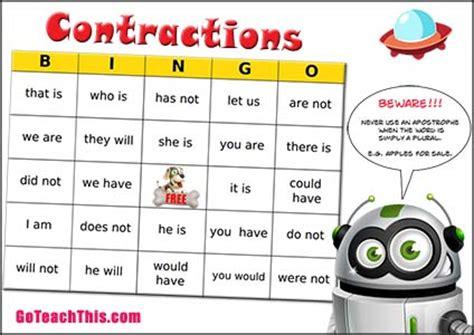 printable contraction games contractions bingo an enjoyable printable game for