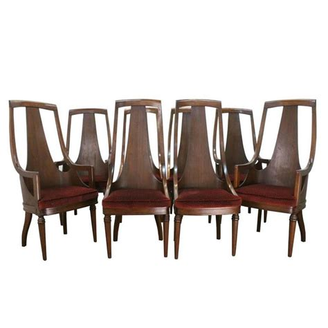 walnut dining room chairs set of 8 high back mid century walnut dining chairs at 1stdibs