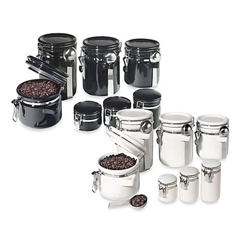 bed bath and beyond canister sets oggi 7 piece ceramic airtight canister set bed bath