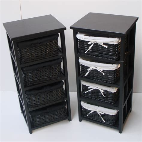 Bathroom Storage Black 4 Black Basket Draw Bathroom Storage Unit Floor Cabinet Ebay