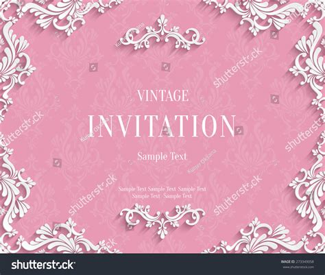 3d Invitation Card Template by Vector Pink Vintage Background With 3d Floral Damask