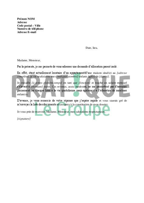 Exemple De Lettre Demande De Rsa Lettre Demande D Allocation Parent Isol 233 Pratique Fr