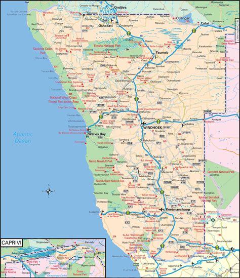 road layout en français namibie carte cartes et plan des villes de namibie