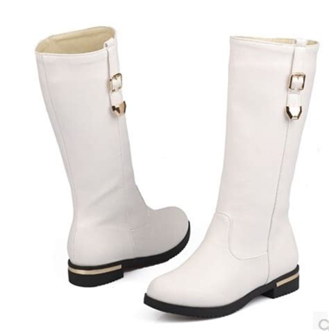2015 winter boots flat leather thigh high boots