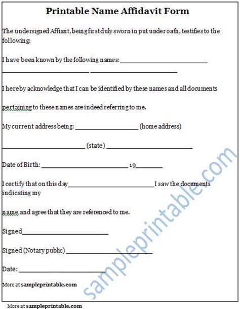 name affidavit form printable name affidavit form