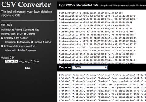csv format sep excel and csv conversion to json and xml in javascript
