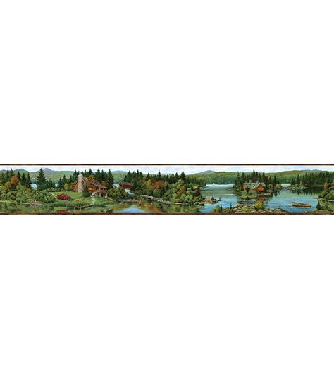 Cabin Wallpaper Border log lake brown lakeside cabin wallpaper border jo