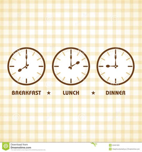 what time is lunch breakfast lunch and dinner time stock vector image 50461303