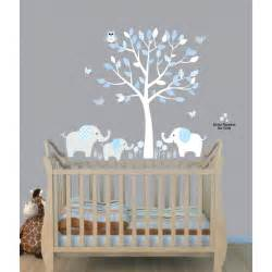 Wall Decals For Baby Boy Nursery Baby Nursery Decor Elephants Below Beautiful Tree Baby Boy Nursery Decals Blue Theme Color Owl