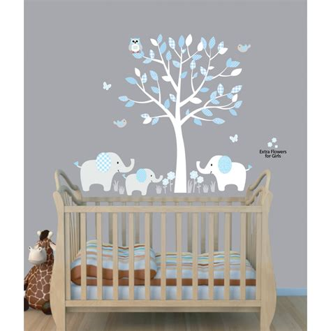 Wall Decals Nursery Boy Baby Nursery Decor Elephants Below Beautiful Tree Baby Boy Nursery Decals Blue Theme Color Owl