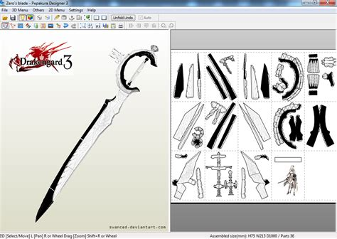 papercraft weapons templates drakengard 3 zero s blade papercraft template by svanced