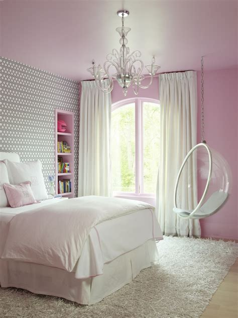 gray girl bedroom pink and gray girl s bedroom features a pink ceiling over