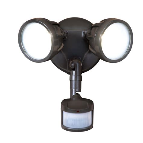 led motion security light all pro 180 degree bronze motion activated sensor twin