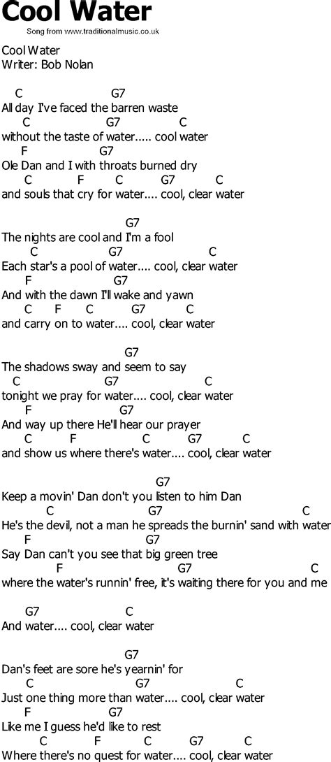song to country song lyrics with chords cool water