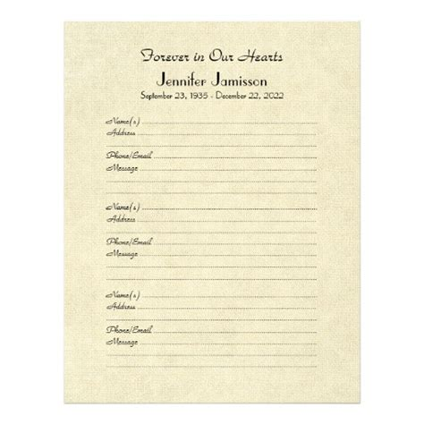 memorial book filler page distressed cream letterhead