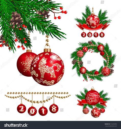 new year decorations symbols symbol 2018 new year stock vector 712235992