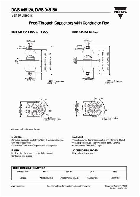 feedthrough capacitor datasheet dwb045120 4267889 pdf datasheet ic on line