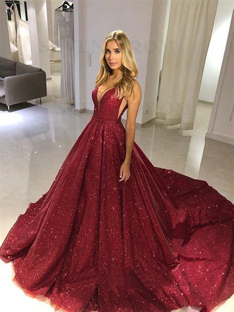 buy sparkly  neck sleeveless long burgundy prom dress
