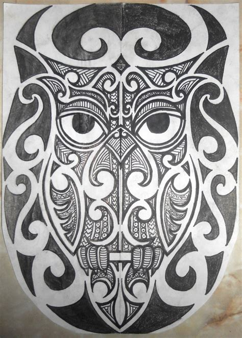 tribal maori polynesian owl tattoo half sleeve by