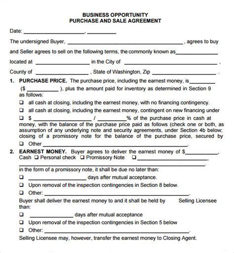 purchase of business agreement template free purchase and sale agreement 7 free pdf