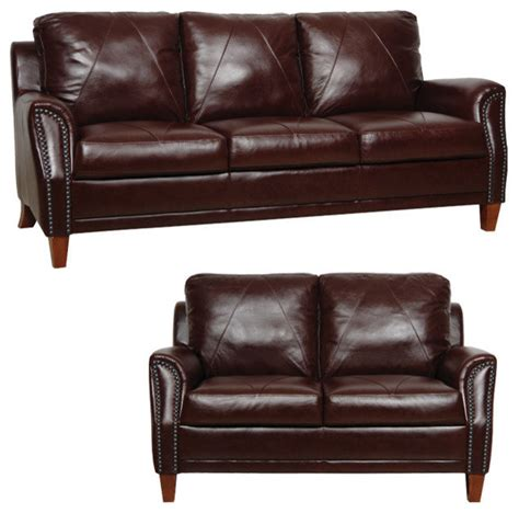 traditional leather loveseat genuine italian leather sofa and loveseat in sienna