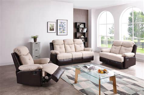 stadium seating couches living room stadium two tone beige reclining living room set