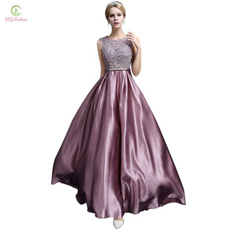 New Dress Satin evening dress 2016 new fashion luxury lace satin