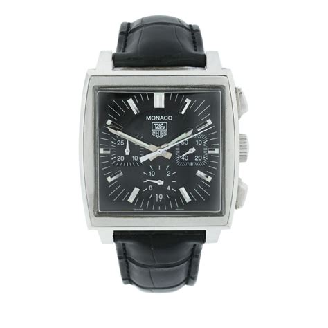 Tag Heuer Black Leather List tag heuer monaco cw2111 0 chronograph black black