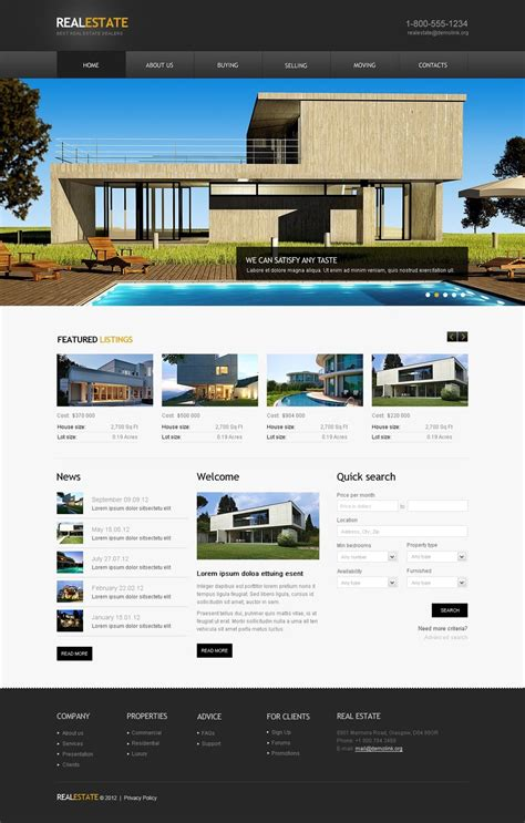 templates for real estate website real estate agency website template 41662