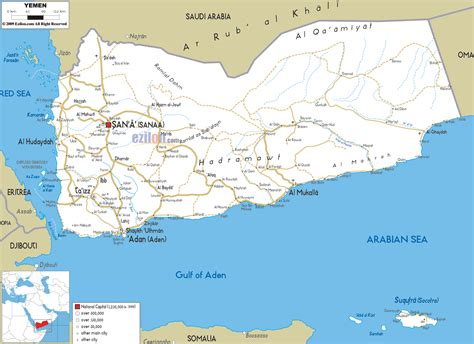 road map  yemen ezilon maps