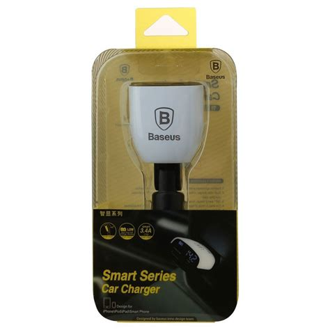 Baseus Smart Series Car Charger Dual Usb With Lcd Display 3 4a T30 4 baseus smart series car charger dual usb with lcd display 3 4a white jakartanotebook