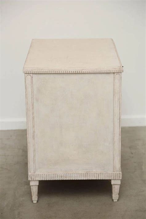 antique swedish gustavian style white painted chest mid
