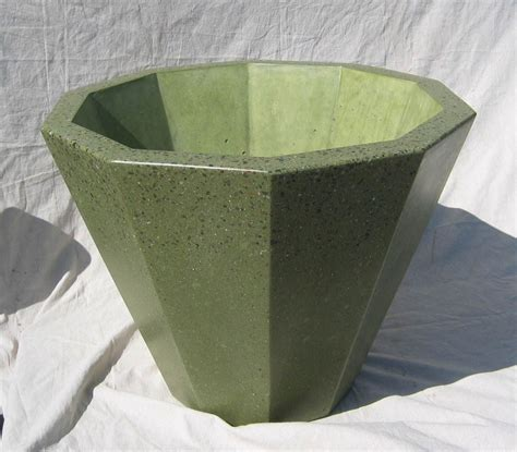 Polished Concrete Planters by Made 10 Sided Conical Polished Concrete Planter By