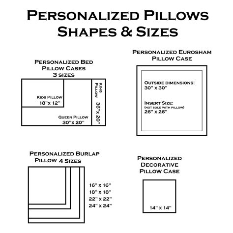 Pillow Sizes Chart by Personalized Decorative Pillow Youcustomizeit