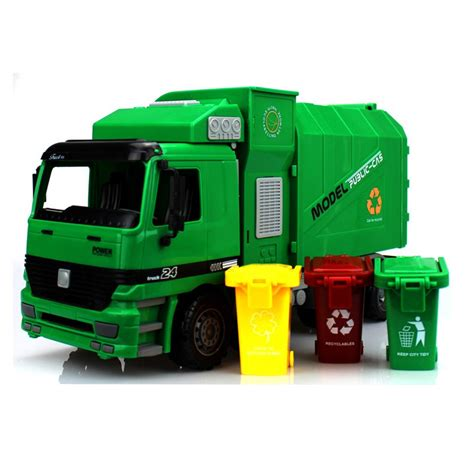 Bigsizr Jumbo Brie 1 big size jumbo children s large side loading garbage truck can be lifted with 3 rubbish bin