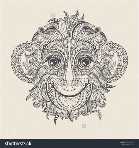 tribal monkey tattoos patterned of the monkey design vector