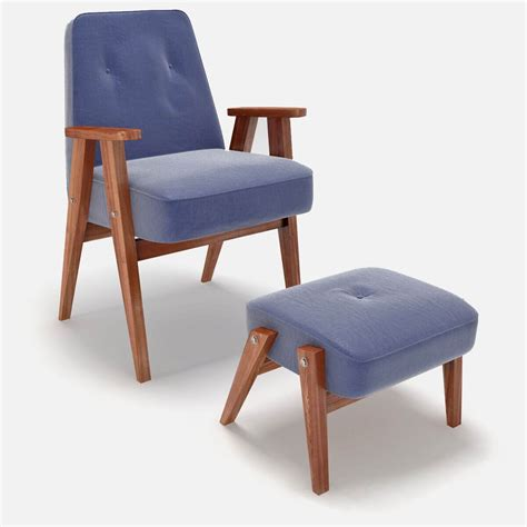 Blue Chair And Ottoman Retro Blue Chair And Ottoman 3d Model