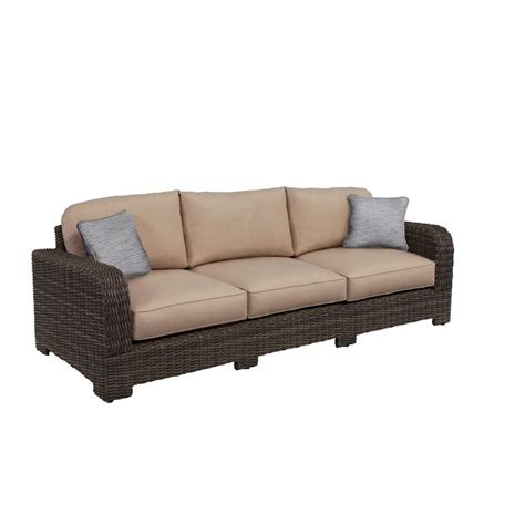 Custom Sofa Pillows Brown Northshore Patio Sofa With Sparrow Cushions