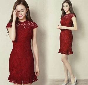 Dress Span Brukat baju mini dress brukat pendek warna merah maroon cantik