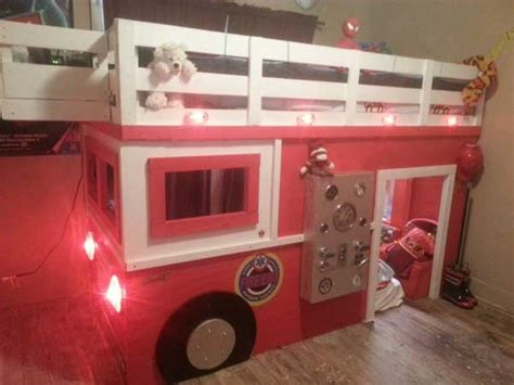firefighter bed photo firefighter builds son fire truck bed