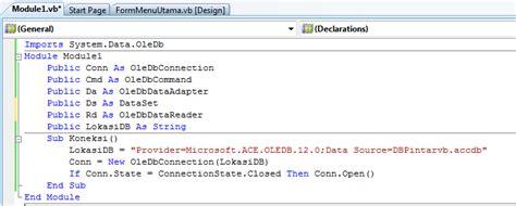 membuat database vb 2008 koneksi database dengan module vb 2008 pintar vb
