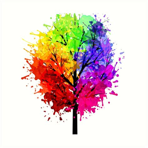 tree colors quot rainbow tree with colour splats quot prints by arniesart