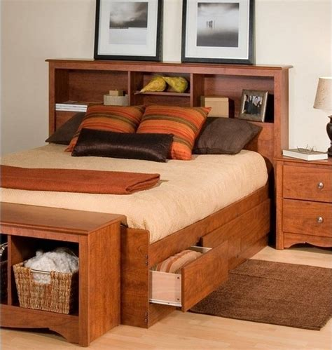 queen storage bed with bookcase headboard american hwy