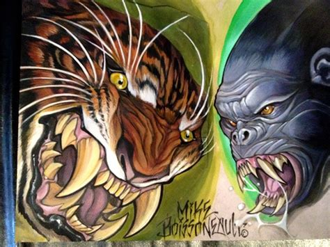tattoo flash tiger gorilla tiger tattoo flash by mikeboissoneault on deviantart