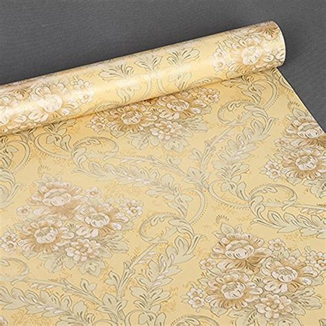 Pvc Shelf Liner by Simplelife4u Yellow Damask Self Adhesive Shelf Drawer Liner Moisture Proof Pvc Contact Paper