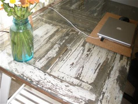 old door turned into glass top table corner command center pinter beauty and the green old door new tricks