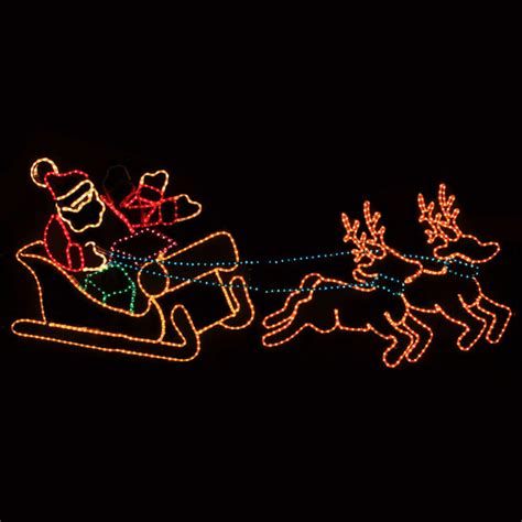 Lighted Christmas Garland Outdoor Decoration Waving Santa With Sleigh And Reindeer