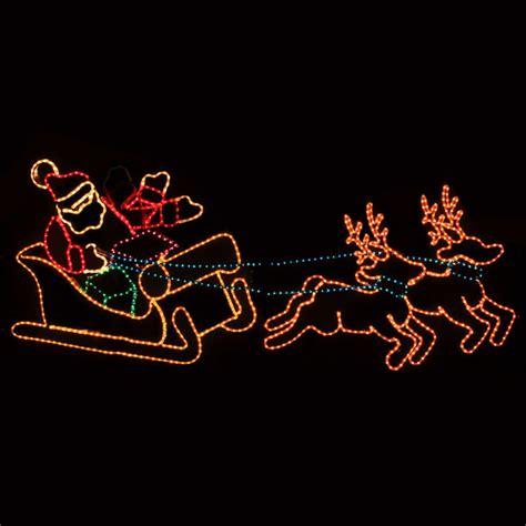 outdoor decoration waving santa sleigh reindeer lawn